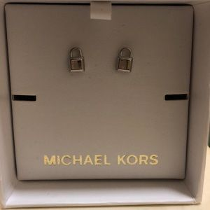 Michael Kors Silver Lock Earrings